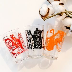 Vintage Folk Art Juice Glasses